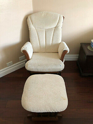 Chair Rocking Glider and Ottoman Set Dutailier Ivory / Light Brown Colonial