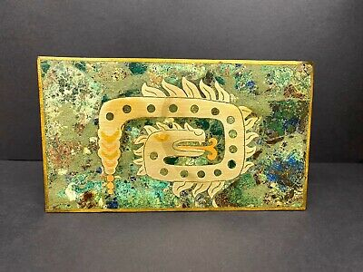 Mexican Aztec Mid Century Inlay Azurite Brass Cedar wood Cigarette Cigar Box