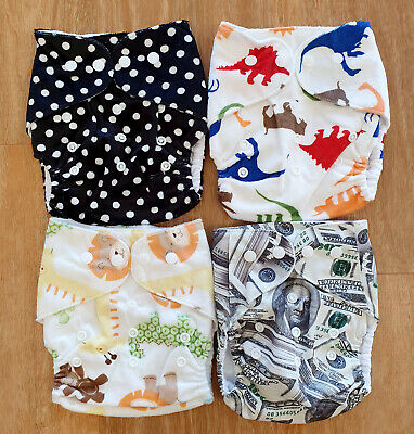 Bulk Cheap Cloth Nappy SHELL 4 Pack Minky Cute Girl Patterns Tiger Animals Spots