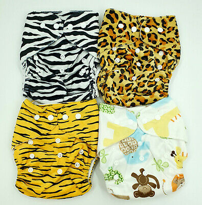 Bulk Cheap Cloth Nappy SHELL 4 Pack Minky Cute Animal Patterns Tiger Zebra