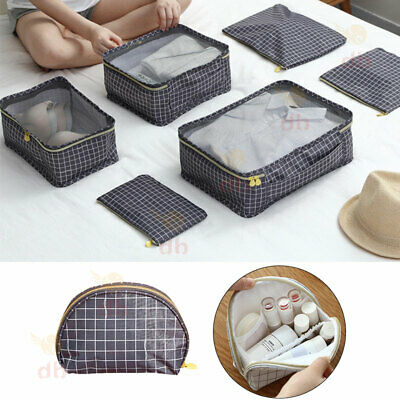 6 Packing Cubes Pouch Luggage Storage Travel Suitcase Clothes Organiser Cosmetic