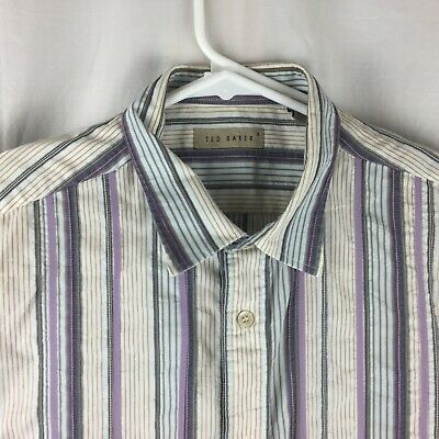 Ted Baker London Mens Shirt Size 4 L stitched dress work Button Up S/S logo tag