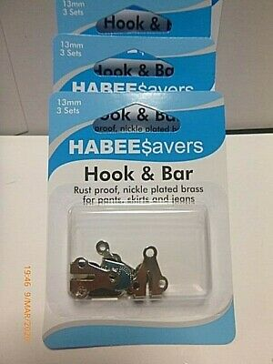 3 Sets Habee Savers 13 mm Nickle plated brass HOOKS & BARS TROUSERS SKIRTS JEANS