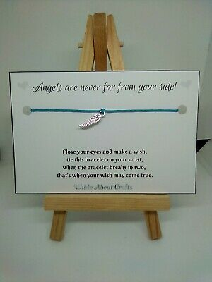 Angelwish bracelet. gift. card. Personalised. Loss. Memorial. Feather