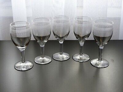 5 Anciens Verres De Table Vin En Cristal Grave De Saint Louis Baccarat Digestif