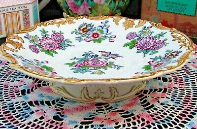 Charles Meigh Poonah Pattern 1840'S Butterfly Floral Pedestal Compote