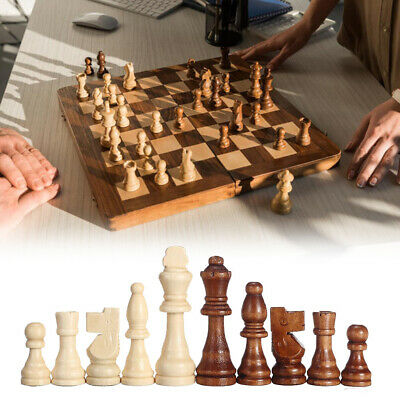 Wood Chess Comtemporary Wooden Magnetic Board Folding Chessboard Game Toy Set UK