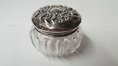 Antique Clear Cut Crystal Vanity/Dresser Jar w/Sterling Silver Lid