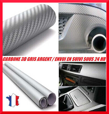 Film covering carbone 3D gris argent(silver) thermoformable 152 x 30 cm