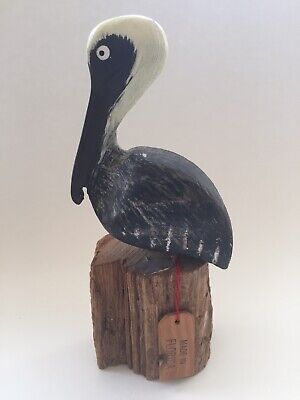 Hand Carved Painted Wood Pelican On Wood Post Nautical Ocean Sea Bird Sculpture