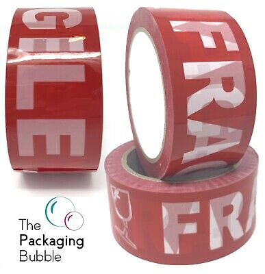 Red Fragile Packaging Parcel Packing Tape Heavy Duty Extra Strong 48mm x 66m