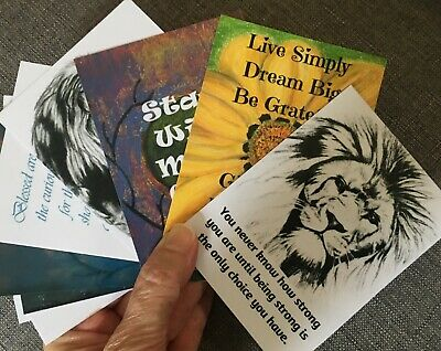 Encouragement Cards x 12, Handmade Motivational Cards, Inspirational Art