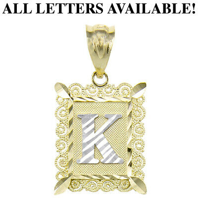 10K Solid Yellow Gold Initial Letter Plate Pendant A-Z Alphabet Necklace Charm