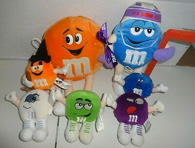 M&M's Swarmees White Mini Plush stuffed Toy lot Vintage Orange Witch blue Hockey