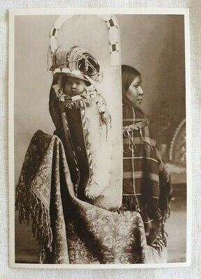 Native American Ute Papoose and Mother Azusa Postcard 1900 Kohlberg photo repro