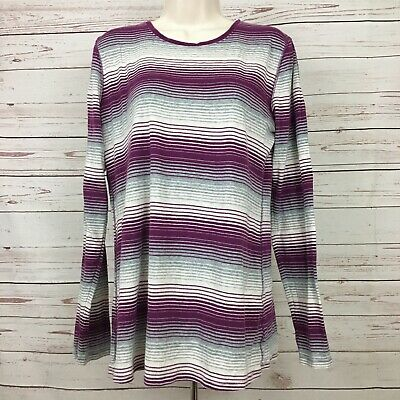 Old Navy Maternity Women's Large Purple Top Pullover Stripe Long Sleeve Knit