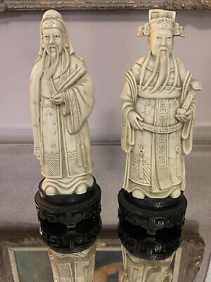 Vintage Two CHINESE RESIN CARVED FIGURINE  PAIR - stands 11 high