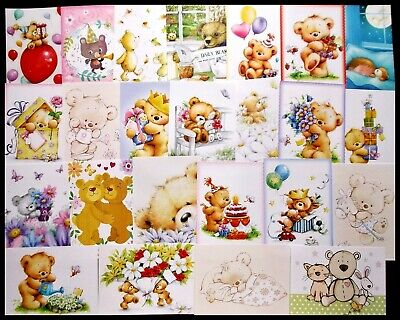 Hunkydory Little Book Of Teddy Bears Card Toppers X 24 Great Variety 20C Each