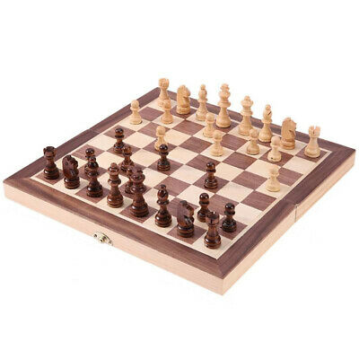 Wooden Crafts Magnetic Chess Set Folding Travel Board Game with Completed Pieces