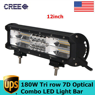 7D+ 12inch 180W Tri-Row LED Light Bar Offroad Work Lamp Spot Flood Combo 4WD SUV