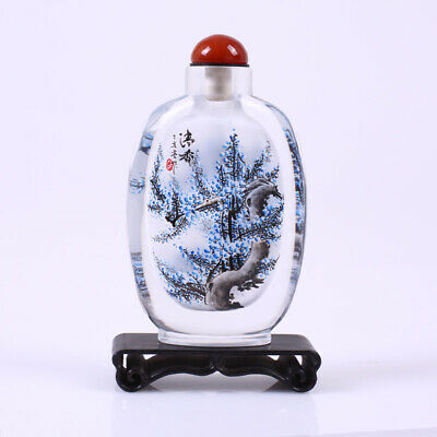 Inner Painting Snuff Bottle Chinese Antique Beautiful Flower Blueberry