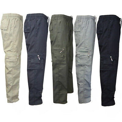 Mens Elasticated Waist Cargo Combat Work Trousers Pockets Casual Bottoms Pants
