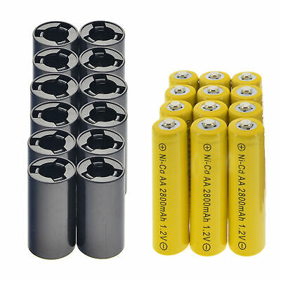 12x AA Rechargeable Batteries NiCd 2800mAh 1.2v + 12xC Battery Adapter Converter