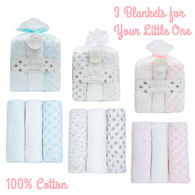 Newborn Baby Boy Girl Square Burp Cloth Nappy Wipe 3 Pack Swaddle Blanket Wrap