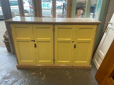 Large Old Vintage Oak School Cupboard In Original Painted Condition.(2) Reduced
