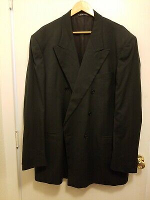 Vito Rufolo Men's Wool Double Breasted Charcoal Black Blazer 46L EUC B902000