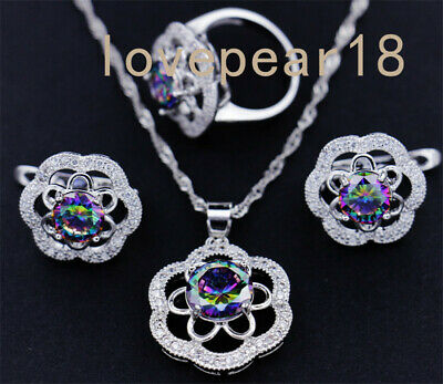Natural Rainbow fire Topaz gemstone 925 silver ring earrings pendant/necklace