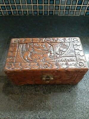 Chinese Oriental Wooden Carved Box. Nice Details. Hinged Lid. L 19.5Cm.