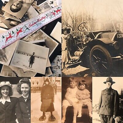 #21 100 + Old Photos Lot BW Vintage BLACK & WHITE Photographs Snapshots antique
