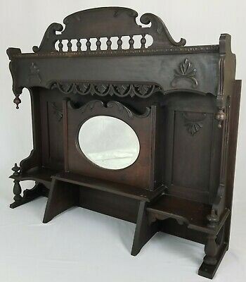 Antique Salvaged Fireplace Mantle With Beveled Mirror Eastlake Victorian Walnut