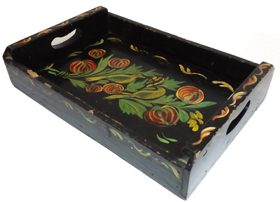 Vintage Shabby Tole Painted Wooden Serving Tray with Birds & Flower Decorations