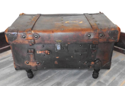 Antique Leather Brooks Brothers Trunk Suitcase Converted into Coffee Table