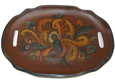Vintage Hand-Painted Wooden Folk Art Tole Tray Treen Serving Tray