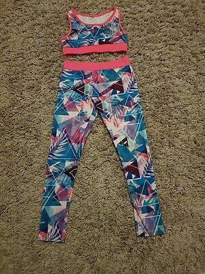 Girls Sports Gym Wear Leggings Crop Top Age 8 Excellent Condition