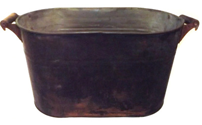 Antique Primitive Copper Boiler Wash Tub w/ Charred Surface from Use