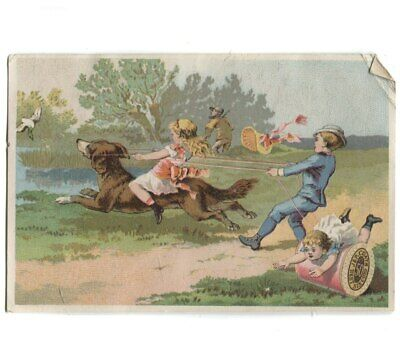 Antique J&P Coats Spool Cotton Thread Victorian Trade Card w/ Dog Chasing Bird