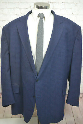 TALLIA Mens Blue Check BIG & TALL Pleated Front 2 Piece Suit SIZE 62R 52Wx27L