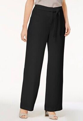NWT ALFANI Size XL Women's Wide Leg Tie Front Crepe Stretch Deep Black Pants $70