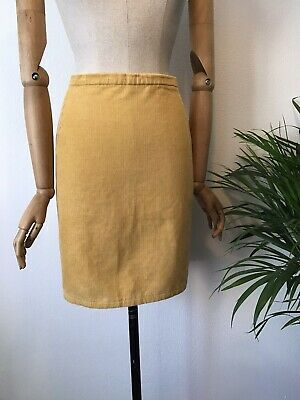 Vintage 80s Yellow Cord Mini Skirt - UK 12