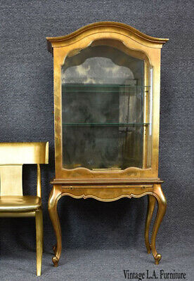 Vintage French Country Provincial Louis XV Gold Curio Cabinet by Weiman