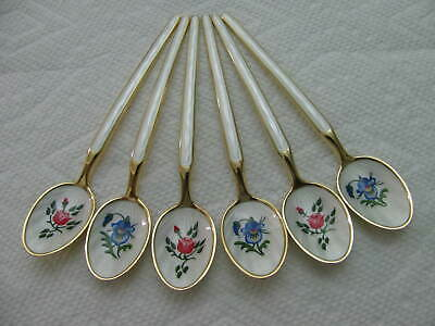 NORWAY Sterling Silver Enamel demitasse Spoon SET # 7040