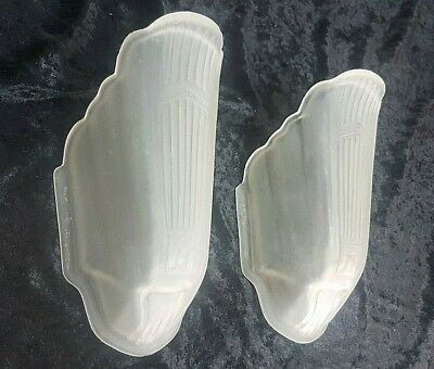 Pair Vintage Markel M.e.p Art Deco Frosted Glass Slip Shade Wall Sconce Lights