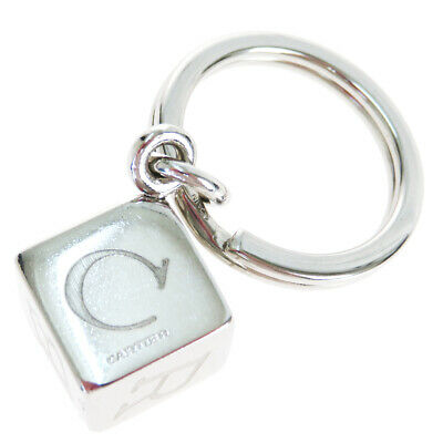 Auth Cartier Bag Charm Key Ring Fashion Keyring (Silver) 08PA268