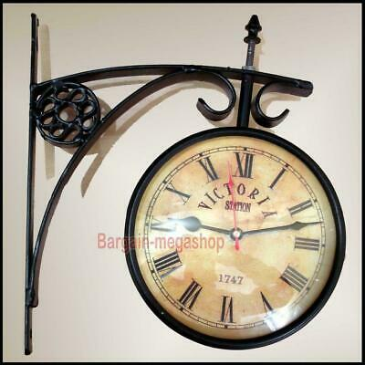 Retro Double Sided Wall Mount Station Clock Vintage Antique Home Garden Décor
