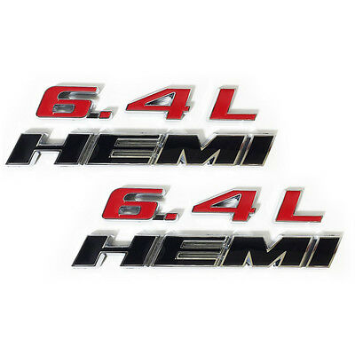2x OEM Chrome 6.4L HEMI Emblems 6.4L Hemi Badge 3D for Challenger RAM AAA