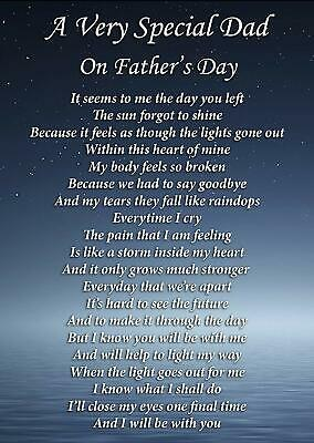 A Special Dad Father's Day Memorial Graveside Poem Card With Free Stake F283